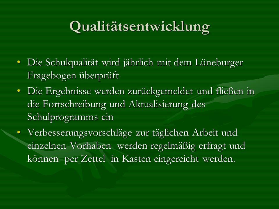 Qualitätsentwicklung Die Schulqualität wird jährlich mit dem Lüneburger Fragebogen überprüftDie Schulqualität wird jährlich mit dem Lüneburger Fragebo