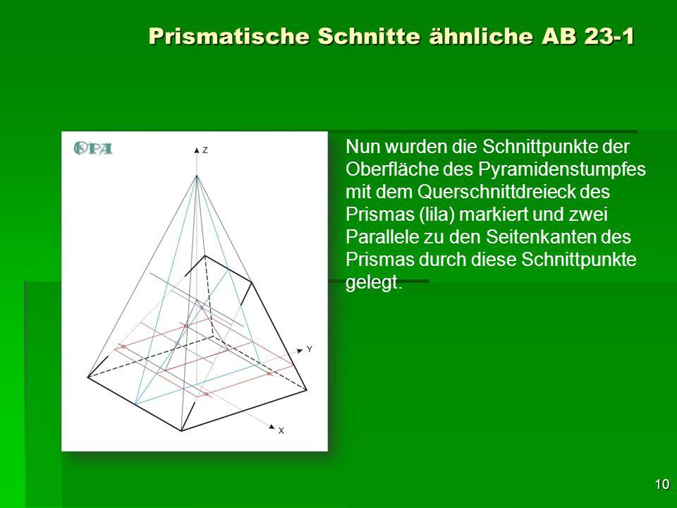 10 Prismatische Schnitte ähnliche AB 23-1 Nun wurden die Schnittpunkte der Oberfläche des Pyramidenstumpfes mit dem Querschnittdreieck des Prismas (li