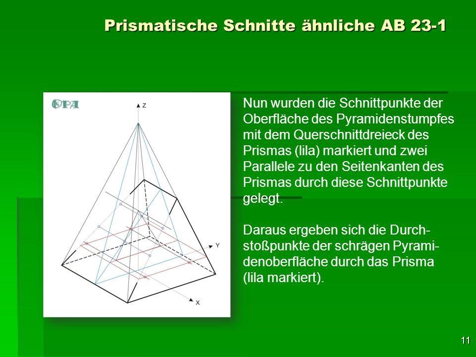 11 Prismatische Schnitte ähnliche AB 23-1 Nun wurden die Schnittpunkte der Oberfläche des Pyramidenstumpfes mit dem Querschnittdreieck des Prismas (li