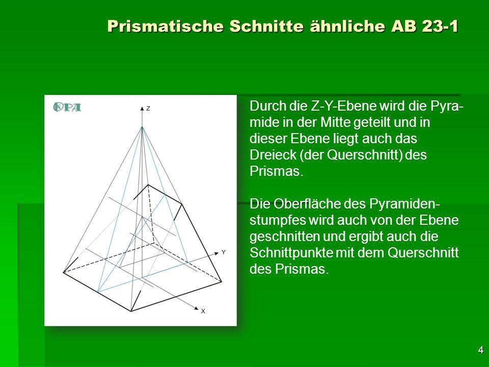 5 Prismatische Schnitte ähnliche AB 23-1 Nun wird durch die untere Seiten- fläche des Prismas eine horizon- tale Ebene gelegt, die auch den Pyramidenstumpf schneidet.