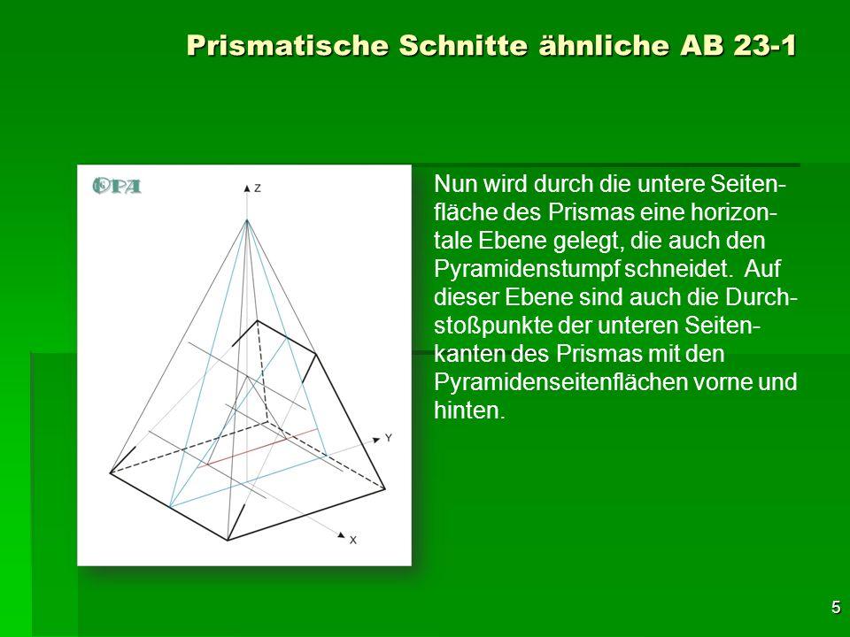 6 Prismatische Schnitte ähnliche AB 23-1 Dazu wird die untere Seitenkante des Querschnittsdreieckes zu der (blauen) Schnittebene der Pyramide gelegt.