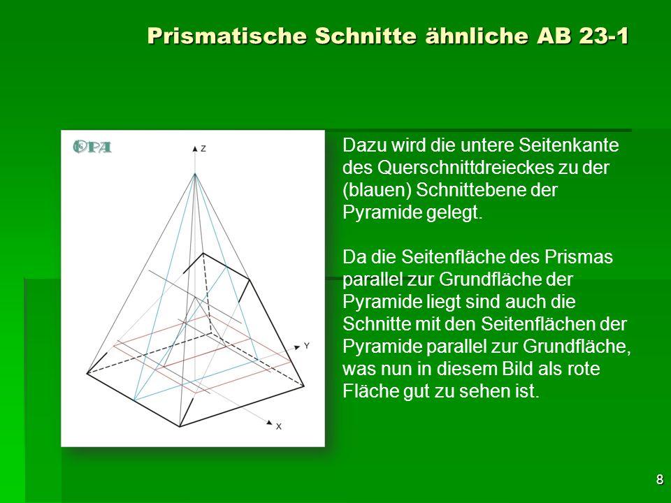 9 Prismatische Schnitte ähnliche AB 23-1 Dazu wird die untere Seitenkante des Querschnittdreieckes zu der (blauen) Schnittebene der Pyramide gelegt.