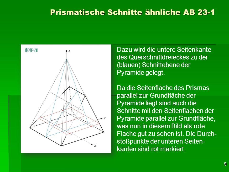 10 Prismatische Schnitte ähnliche AB 23-1 Nun wurden die Schnittpunkte der Oberfläche des Pyramidenstumpfes mit dem Querschnittdreieck des Prismas (lila) markiert und zwei Parallele zu den Seitenkanten des Prismas durch diese Schnittpunkte gelegt.