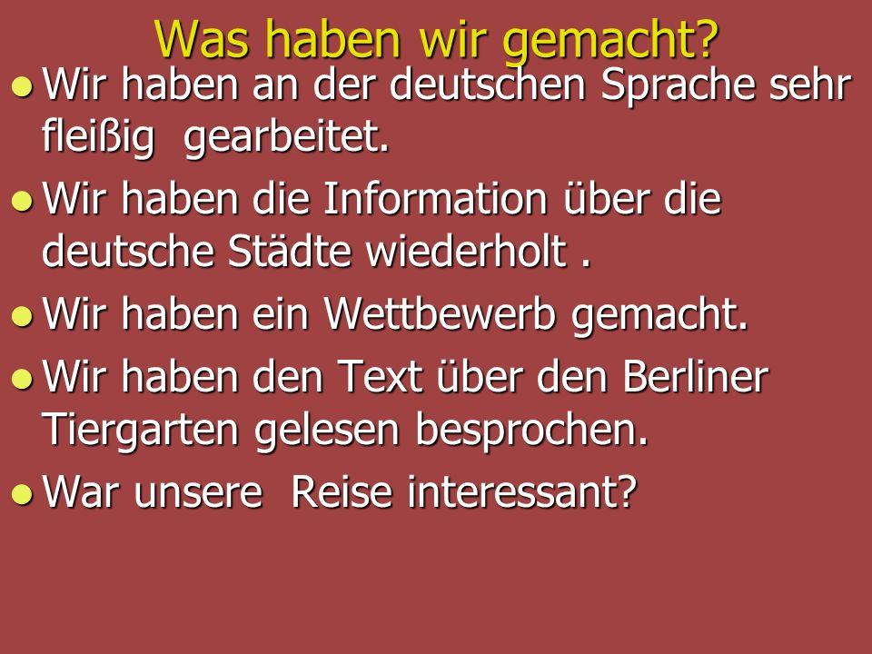 Was haben wir gemacht? Wir haben an der deutschen Sprache sehr fleißig gearbeitet. Wir haben an der deutschen Sprache sehr fleißig gearbeitet. Wir hab