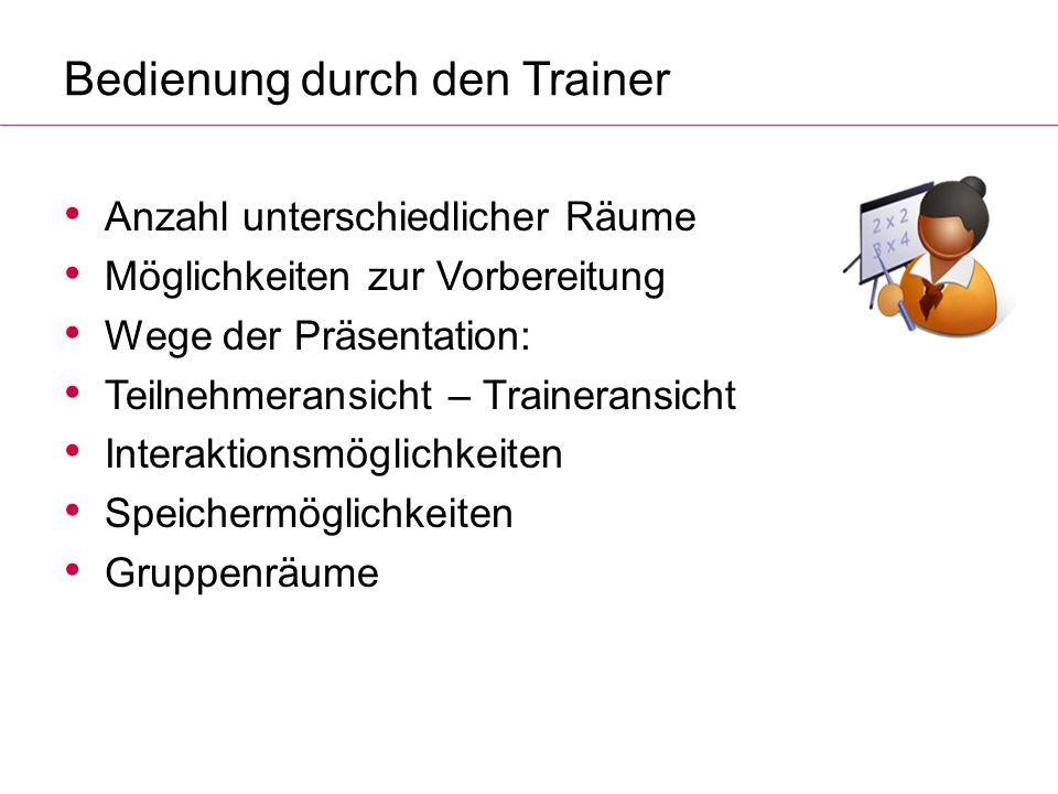 Bedienung durch den Trainer Anzahl unterschiedlicher Räume Möglichkeiten zur Vorbereitung Wege der Präsentation: Teilnehmeransicht – Traineransicht In