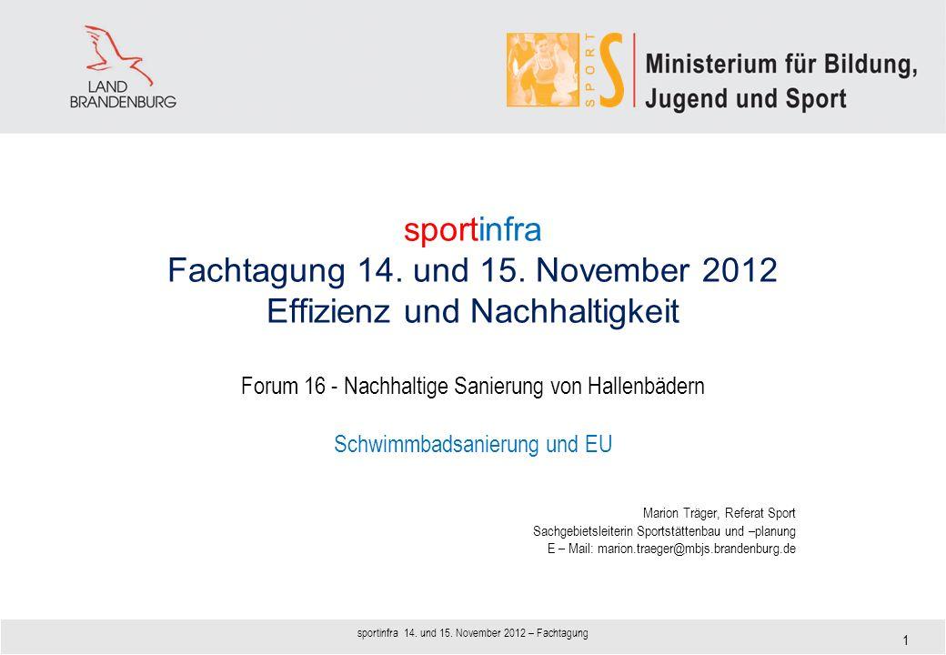 sportinfra Fachtagung 14. und 15. November 2012 Effizienz und Nachhaltigkeit Forum 16 - Nachhaltige Sanierung von Hallenbädern Schwimmbadsanierung und