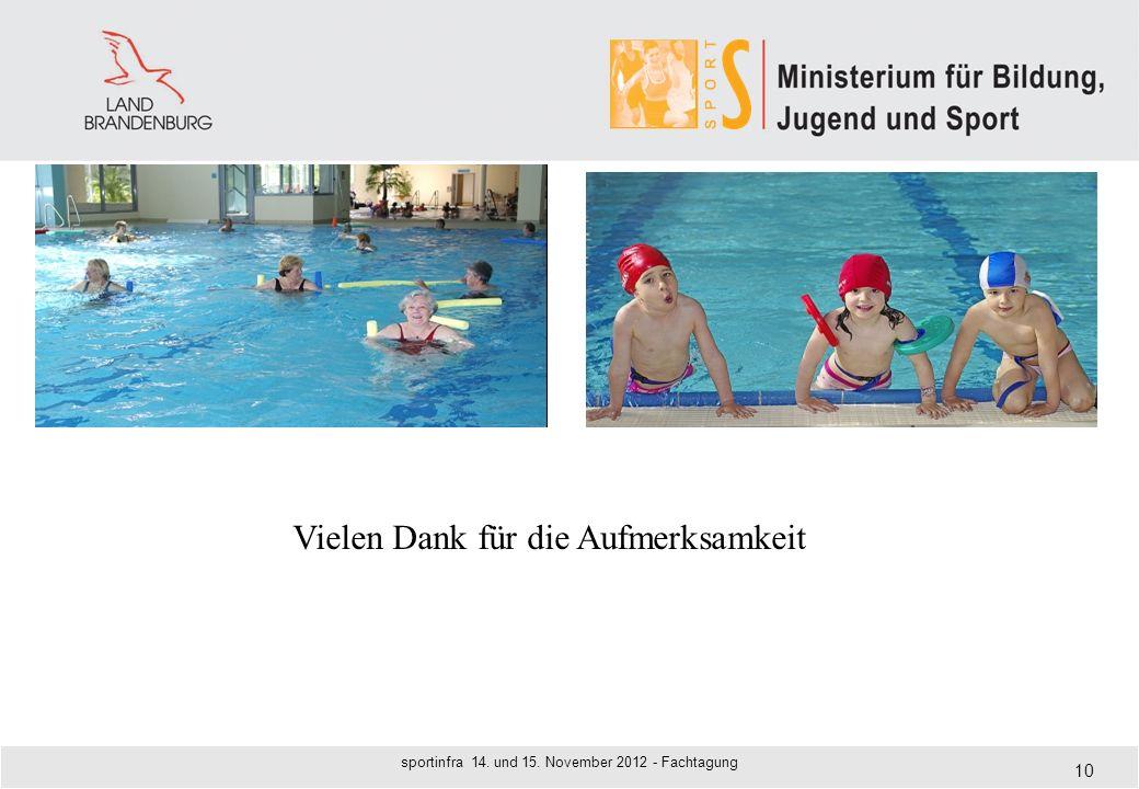 10 sportinfra 14. und 15. November 2012 - Fachtagung Vielen Dank für die Aufmerksamkeit