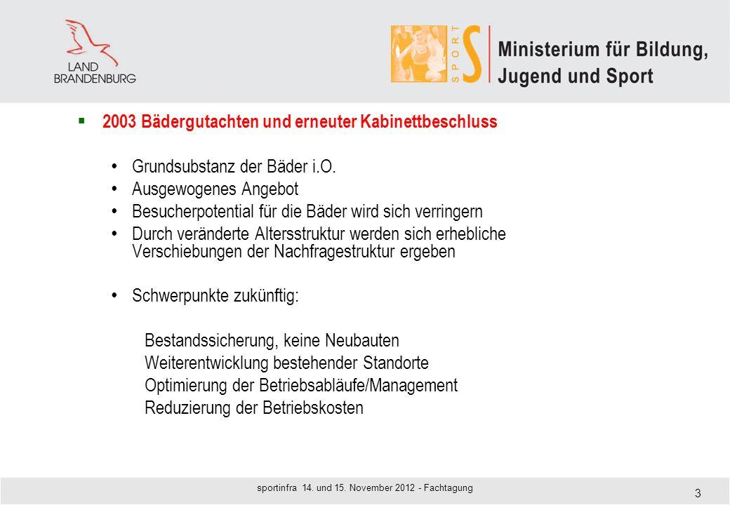 2003 Bädergutachten und erneuter Kabinettbeschluss Grundsubstanz der Bäder i.O. Ausgewogenes Angebot Besucherpotential für die Bäder wird sich verring