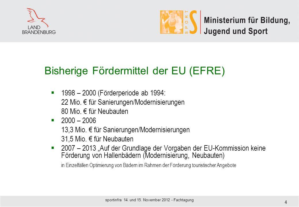 Bisherige Fördermittel der EU (EFRE) 1998 – 2000 (Förderperiode ab 1994: 22 Mio. für Sanierungen/Modernisierungen 80 Mio. für Neubauten 2000 – 2006 13
