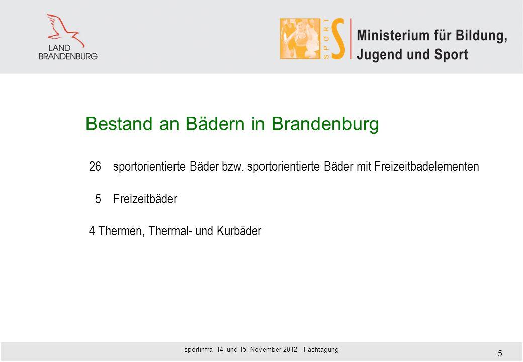 Bestand an Bädern in Brandenburg 26sportorientierte Bäder bzw. sportorientierte Bäder mit Freizeitbadelementen 5Freizeitbäder 4 Thermen, Thermal- und