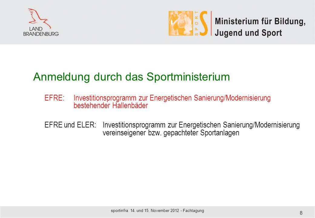 Anmeldung durch das Sportministerium EFRE:Investitionsprogramm zur Energetischen Sanierung/Modernisierung bestehender Hallenbäder EFRE und ELER:Invest