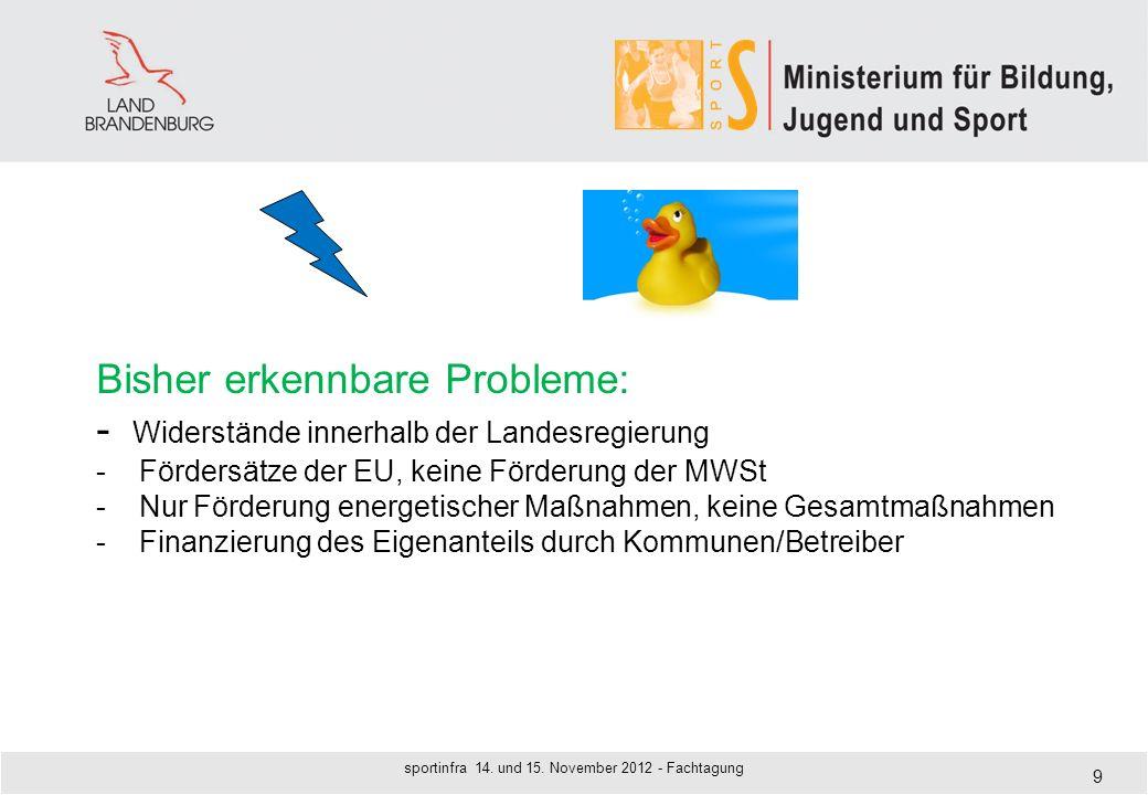 9 Bisher erkennbare Probleme: - Widerstände innerhalb der Landesregierung - Fördersätze der EU, keine Förderung der MWSt - Nur Förderung energetischer