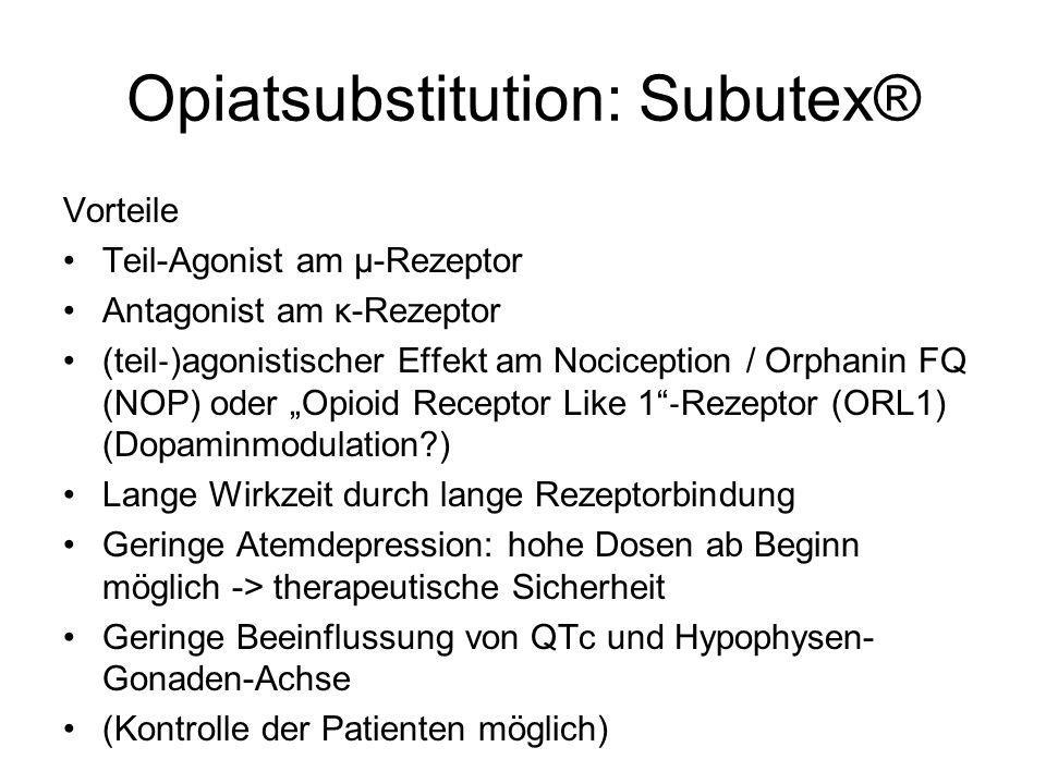 Opiatsubstitution: Subutex® Vorteile Teil-Agonist am µ-Rezeptor Antagonist am κ-Rezeptor (teil )agonistischer Effekt am Nociception / Orphanin FQ (NOP
