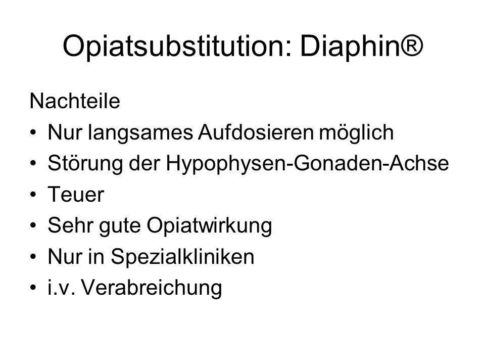 Opiatsubstitution: Diaphin® Nachteile Nur langsames Aufdosieren möglich Störung der Hypophysen-Gonaden-Achse Teuer Sehr gute Opiatwirkung Nur in Spezi