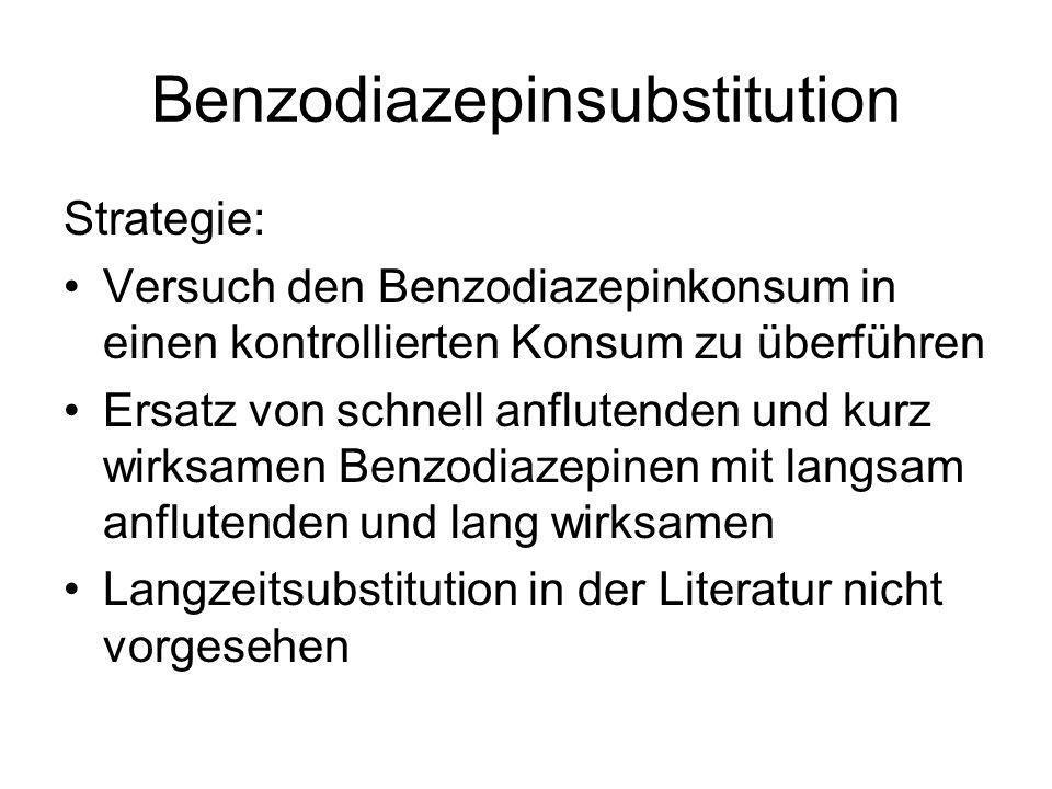 Benzodiazepinsubstitution Strategie: Versuch den Benzodiazepinkonsum in einen kontrollierten Konsum zu überführen Ersatz von schnell anflutenden und k