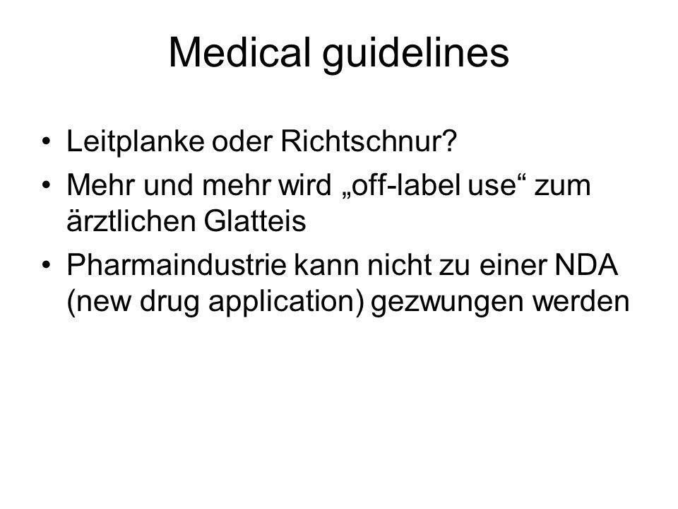 Medical guidelines Leitplanke oder Richtschnur? Mehr und mehr wird off-label use zum ärztlichen Glatteis Pharmaindustrie kann nicht zu einer NDA (new