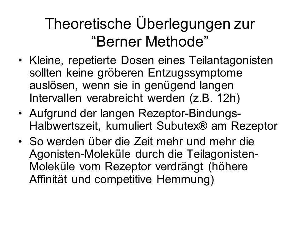 Theoretische Überlegungen zur Berner Methode Kleine, repetierte Dosen eines Teilantagonisten sollten keine gröberen Entzugssymptome auslösen, wenn sie