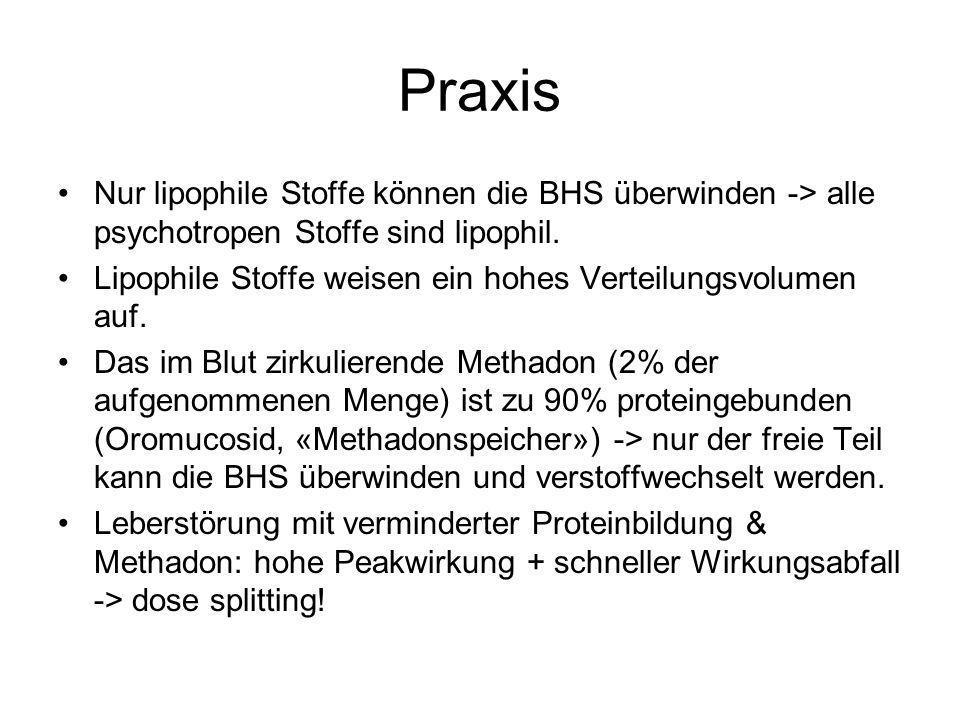 Praxis Nur lipophile Stoffe können die BHS überwinden -> alle psychotropen Stoffe sind lipophil. Lipophile Stoffe weisen ein hohes Verteilungsvolumen