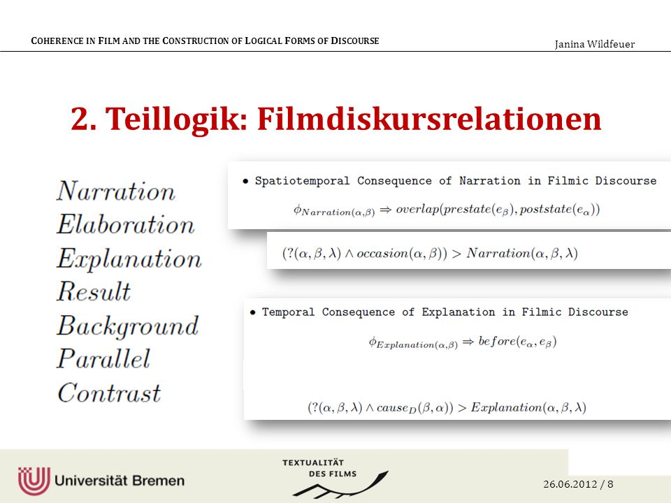 26.06.2012 / 9 C OHERENCE IN F ILM AND THE C ONSTRUCTION OF L OGICAL F ORMS OF D ISCOURSE Janina Wildfeuer Verbindung der logischen Formen durch Diskursrelationen