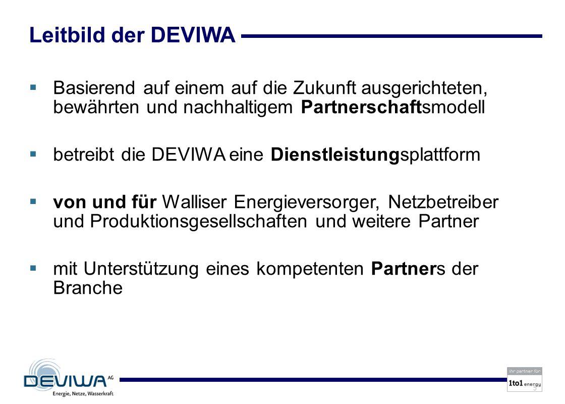 5 Leitbild der DEVIWA Basierend auf einem auf die Zukunft ausgerichteten, bewährten und nachhaltigem Partnerschaftsmodell betreibt die DEVIWA eine Dienstleistungsplattform von und für Walliser Energieversorger, Netzbetreiber und Produktionsgesellschaften und weitere Partner mit Unterstützung eines kompetenten Partners der Branche