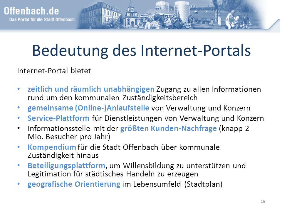 Bedeutung des Internet-Portals Internet-Portal bietet zeitlich und räumlich unabhängigen Zugang zu allen Informationen rund um den kommunalen Zuständi