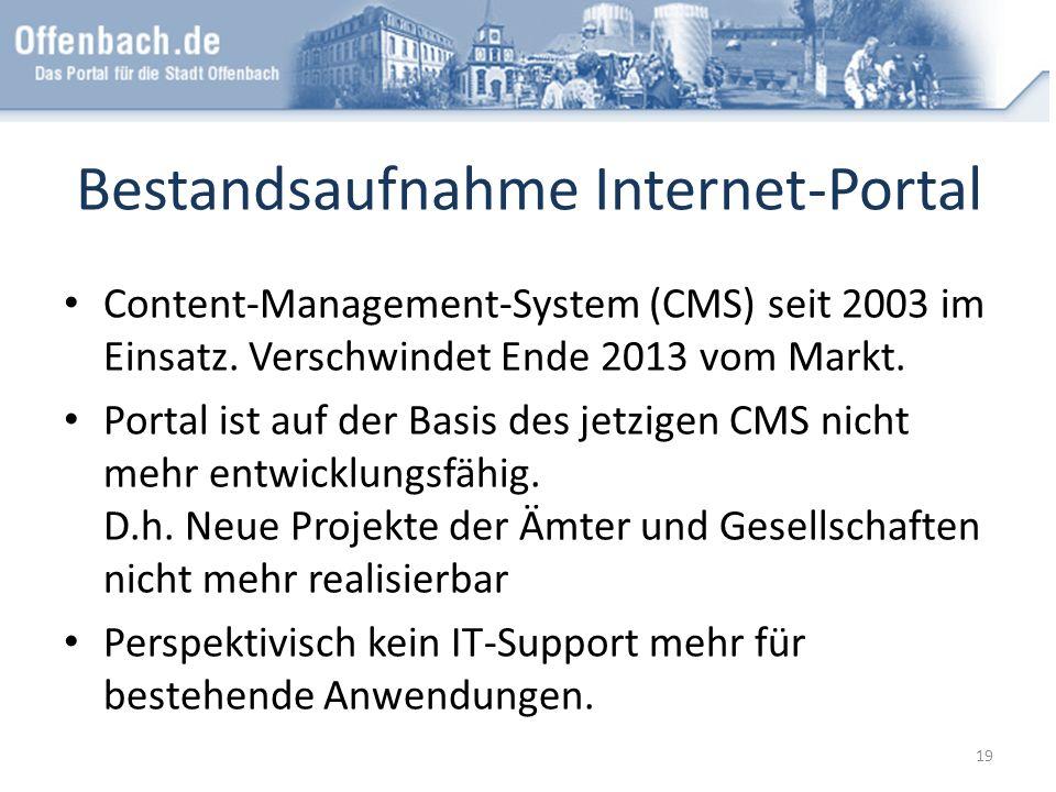 Bestandsaufnahme Internet-Portal Content-Management-System (CMS) seit 2003 im Einsatz. Verschwindet Ende 2013 vom Markt. Portal ist auf der Basis des