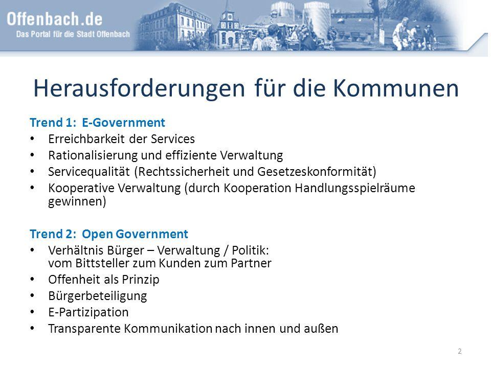 Herausforderungen für die Kommunen Trend 1: E-Government Erreichbarkeit der Services Rationalisierung und effiziente Verwaltung Servicequalität (Recht