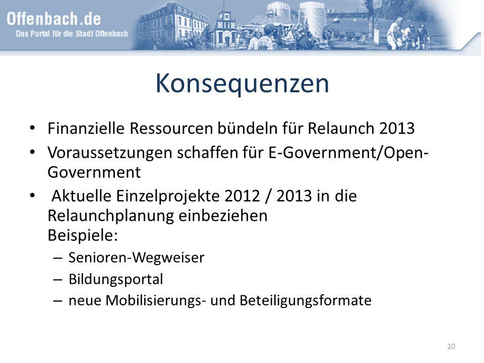 Konsequenzen Finanzielle Ressourcen bündeln für Relaunch 2013 Voraussetzungen schaffen für E-Government/Open- Government Aktuelle Einzelprojekte 2012