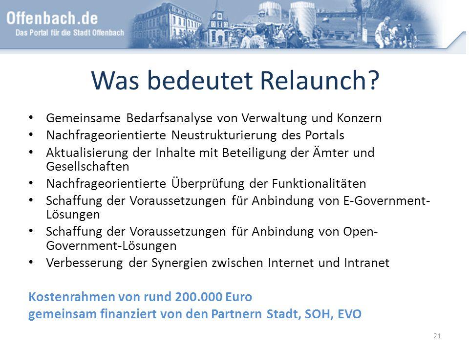 Was bedeutet Relaunch? Gemeinsame Bedarfsanalyse von Verwaltung und Konzern Nachfrageorientierte Neustrukturierung des Portals Aktualisierung der Inha
