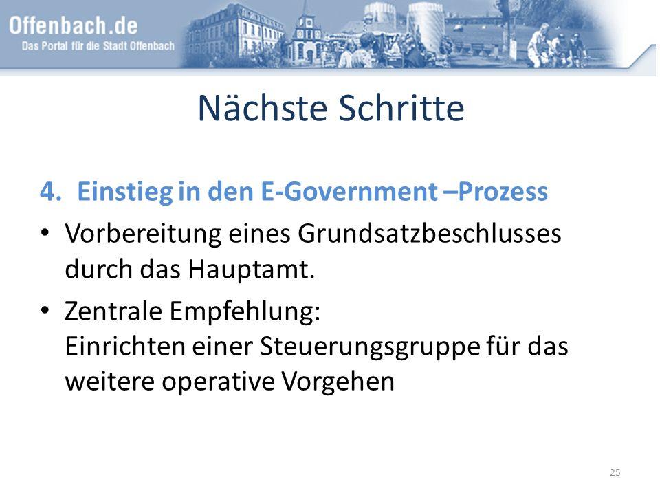 Nächste Schritte 4.Einstieg in den E-Government –Prozess Vorbereitung eines Grundsatzbeschlusses durch das Hauptamt. Zentrale Empfehlung: Einrichten e