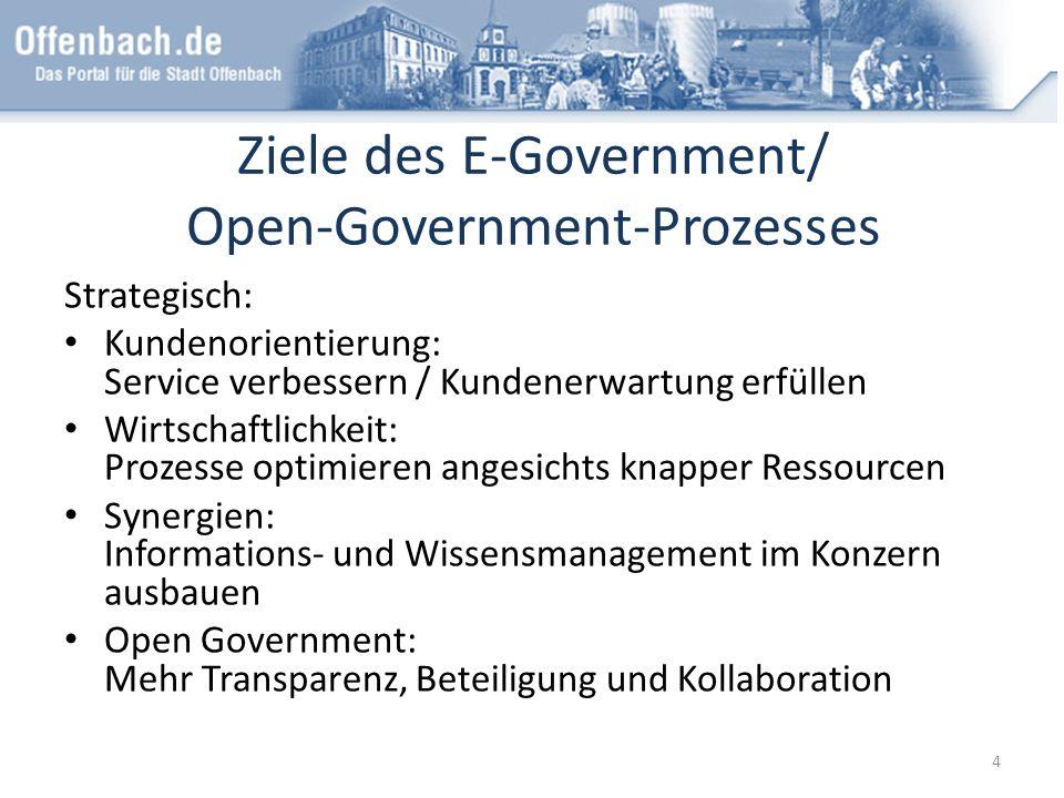 Ziele des E-Government/ Open-Government-Prozesses Strategisch: Kundenorientierung: Service verbessern / Kundenerwartung erfüllen Wirtschaftlichkeit: P