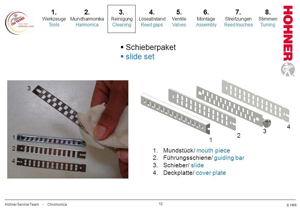 HMI 12 Schieberpaket slide set 2. Mundharmonika Harmonica 3. Reinigung Cleaning 5. Ventile Valves 6. Montage Assembly 7. Streifzungen Reed touches 8.
