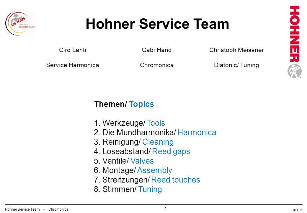 HMI 2 Hohner Service Team Gabi Hand Chromonica Christoph Meissner Diatonic/ Tuning Themen/ Topics 1. Werkzeuge/ Tools 2. Die Mundharmonika/ Harmonica