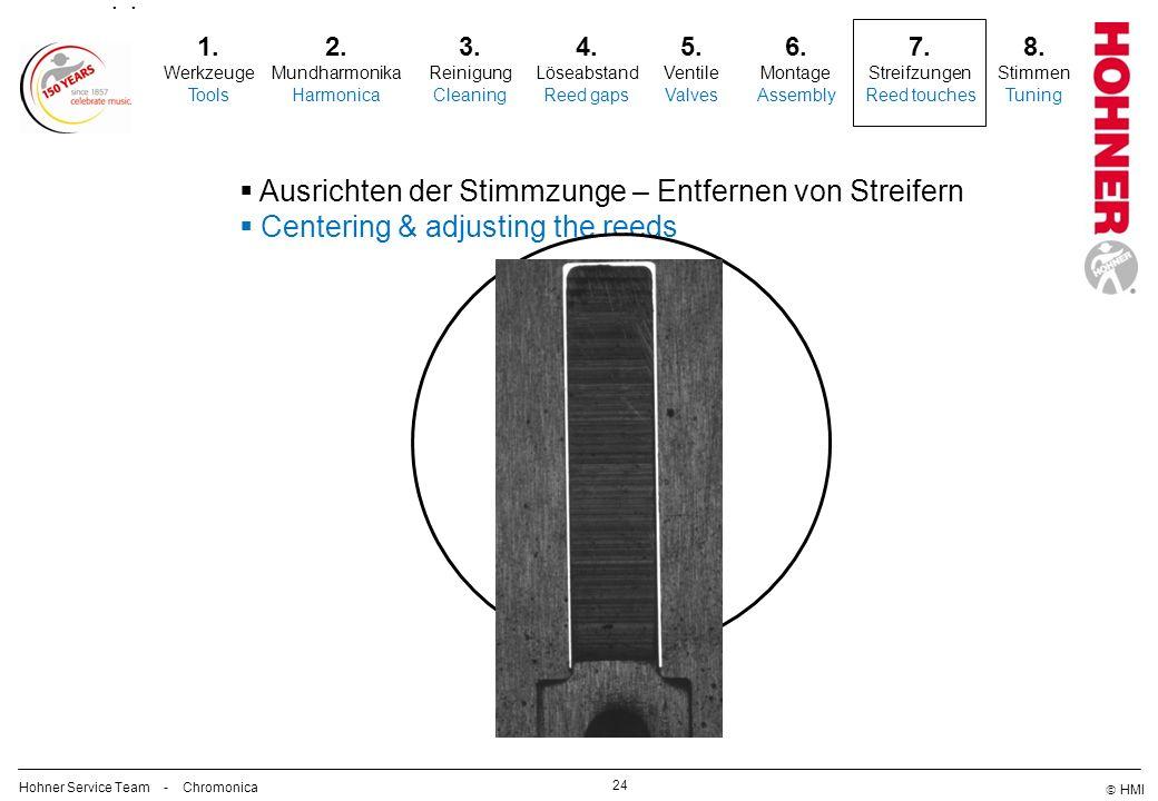 HMI 24 2. Mundharmonika Harmonica 3. Reinigung Cleaning 5. Ventile Valves 6. Montage Assembly 7. Streifzungen Reed touches Ausrichten der Stimmzunge –