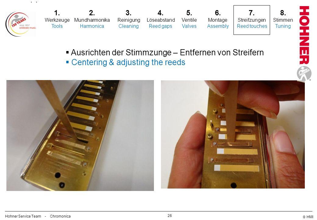 HMI 26 2. Mundharmonika Harmonica 3. Reinigung Cleaning 5. Ventile Valves 6. Montage Assembly 7. Streifzungen Reed touches Ausrichten der Stimmzunge –