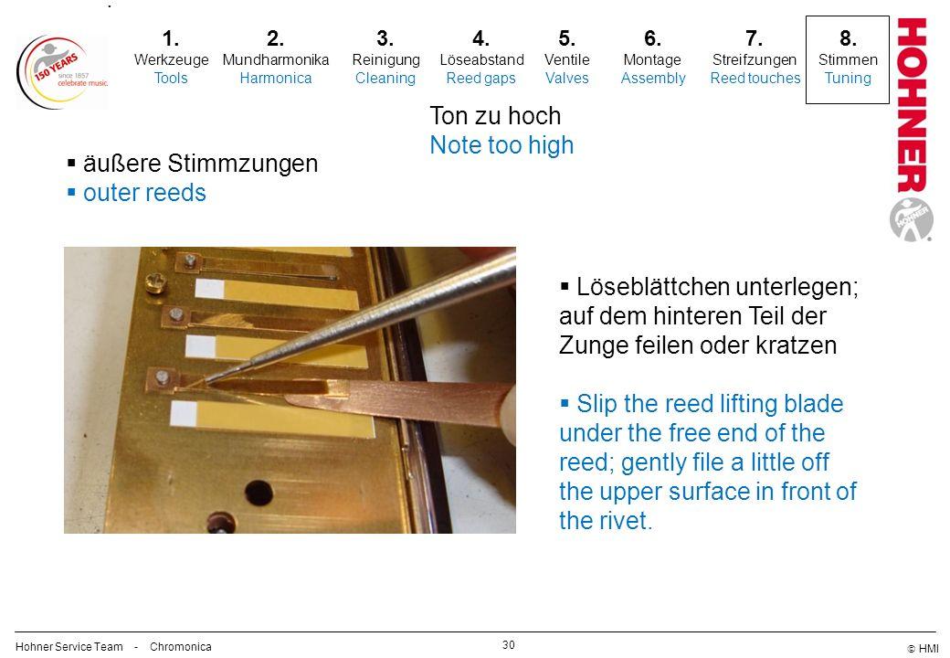 HMI 30 2. Mundharmonika Harmonica 3. Reinigung Cleaning 5. Ventile Valves 6. Montage Assembly 7. Streifzungen Reed touches 8. Stimmen Tuning. 1. Werkz