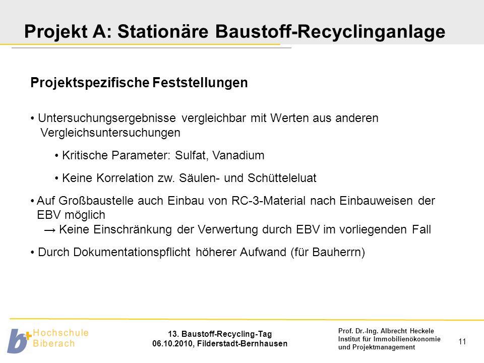 Prof. Dr.-Ing. Albrecht Heckele Institut für Immobilienökonomie und Projektmanagement 13. Baustoff-Recycling-Tag 06.10.2010, Filderstadt-Bernhausen 11