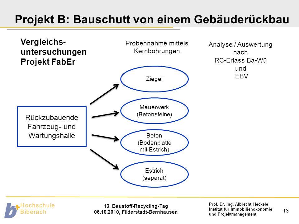 Prof. Dr.-Ing. Albrecht Heckele Institut für Immobilienökonomie und Projektmanagement 13. Baustoff-Recycling-Tag 06.10.2010, Filderstadt-Bernhausen 13