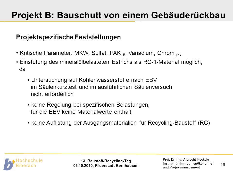 Prof. Dr.-Ing. Albrecht Heckele Institut für Immobilienökonomie und Projektmanagement 13. Baustoff-Recycling-Tag 06.10.2010, Filderstadt-Bernhausen 16