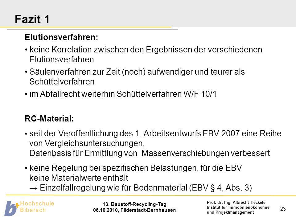Prof. Dr.-Ing. Albrecht Heckele Institut für Immobilienökonomie und Projektmanagement 13. Baustoff-Recycling-Tag 06.10.2010, Filderstadt-Bernhausen 23