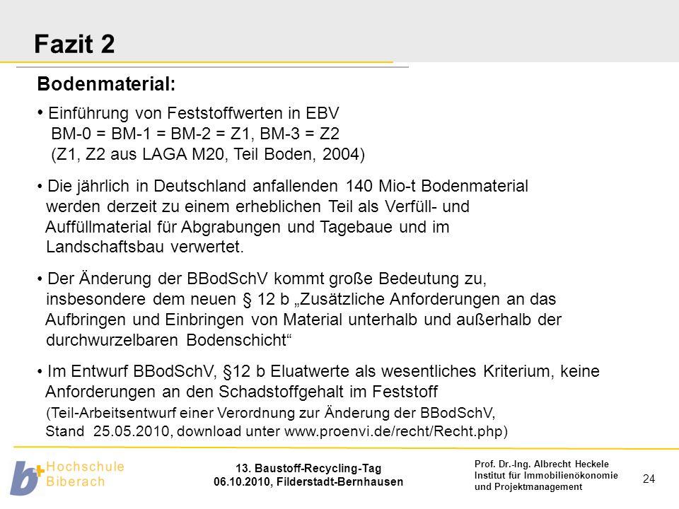 Prof. Dr.-Ing. Albrecht Heckele Institut für Immobilienökonomie und Projektmanagement 13. Baustoff-Recycling-Tag 06.10.2010, Filderstadt-Bernhausen 24