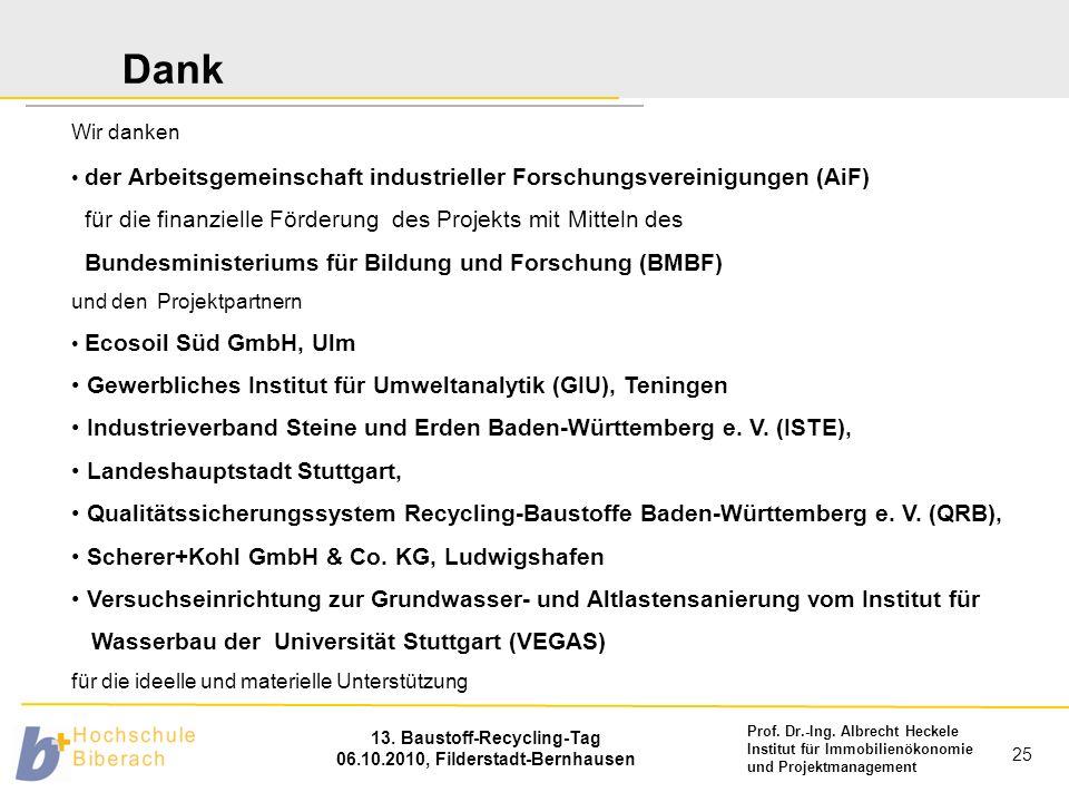 Prof. Dr.-Ing. Albrecht Heckele Institut für Immobilienökonomie und Projektmanagement 13. Baustoff-Recycling-Tag 06.10.2010, Filderstadt-Bernhausen 25