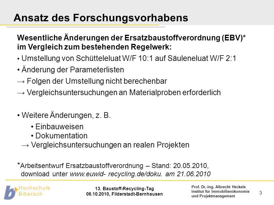 Prof. Dr.-Ing. Albrecht Heckele Institut für Immobilienökonomie und Projektmanagement 13. Baustoff-Recycling-Tag 06.10.2010, Filderstadt-Bernhausen 3