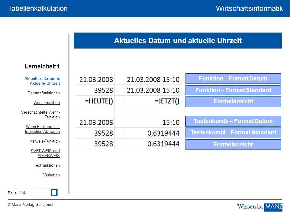 © Manz Verlag Schulbuch Wirtschaftsinformatik Folie 2/14 Tabellenkalkulation 07.04.2008 Datumsfunktionen 7 =TAG(A1) 4 =MONAT(A1) 2008 =JAHR(A1) 2 =WOCHENTAG(A1) 1 =WOCHENTAG(A1;2) Mo =TEXT(A1;ttt) Montag =TEXT(A1;tttt) Aktuelles Datum & Aktuelle Uhrzeit Datumsfunktionen Wenn-Funktion Verschachtelte Wenn- Funktion Wenn-Funktion mit logischen Abfragen Verweis-Funktion SVERWEIS und WVERWEIS Textfunktionen Verketten Lerneinheit 1