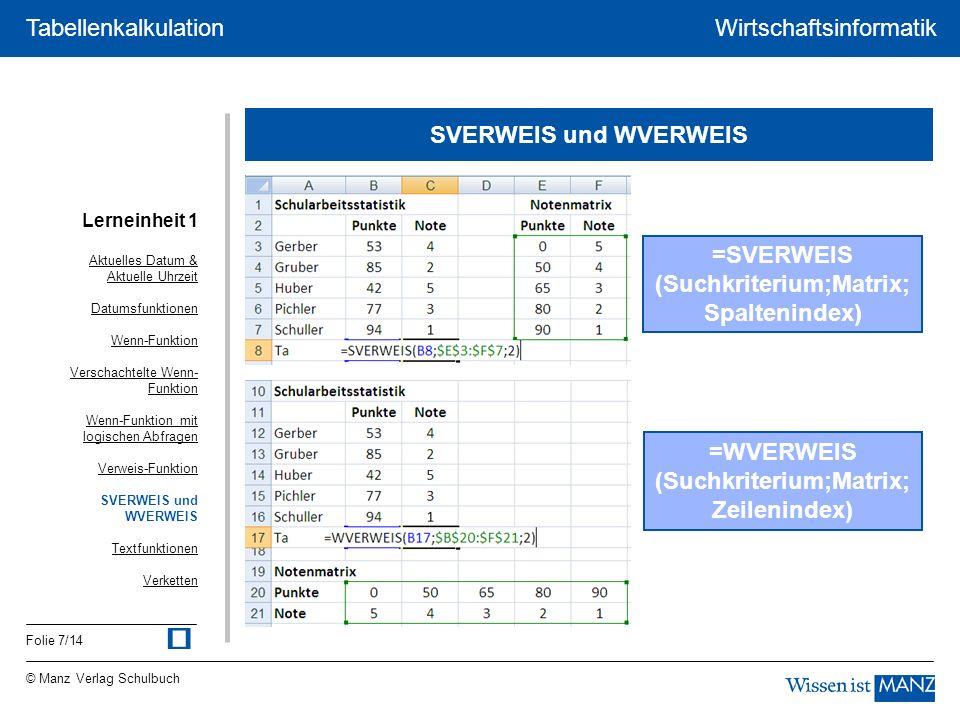 © Manz Verlag Schulbuch Wirtschaftsinformatik Folie 8/14 Tabellenkalkulation Textfunktionen johanna GRUBER johanna gruber =KLEIN(A1) JOHANNA GRUBER =GROSS(A1) Johanna Gruber =GROSS2(A1) joh =LINKS(A1;3) GRUBER =RECHTS(A1;6) hanna =TEIL(A1;3,5) Aktuelles Datum & Aktuelle Uhrzeit Datumsfunktionen Wenn-Funktion Verschachtelte Wenn- Funktion Wenn-Funktion mit logischen Abfragen Verweis-Funktion SVERWEIS und WVERWEIS Textfunktionen Verketten Lerneinheit 1