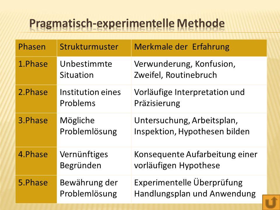 PhasenStrukturmusterMerkmale der Erfahrung 1.PhaseUnbestimmte Situation Verwunderung, Konfusion, Zweifel, Routinebruch 2.PhaseInstitution eines Problems Vorläufige Interpretation und Präzisierung 3.PhaseMögliche Problemlösung Untersuchung, Arbeitsplan, Inspektion, Hypothesen bilden 4.PhaseVernünftiges Begründen Konsequente Aufarbeitung einer vorläufigen Hypothese 5.PhaseBewährung der Problemlösung Experimentelle Überprüfung Handlungsplan und Anwendung