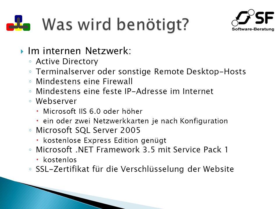 Standard-PC mit Internetzugang Microsoft RDP ActiveX-Control Ab Windows XP SP2 und Windows Vista SP1 Ansonsten nachzuinstallieren, falls Recht vorhanden https und RDP (TCP Zielport 3389) müssen ausgehend erlaubt sein ActiveX-fähiger Browser Internet Explorer ab 6.0 getestet Ansonsten keine besonderen Anforderungen