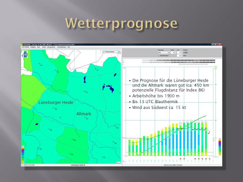 Lüneburger Heide Altmark Die Prognose für die Lüneburger Heide und die Altmark waren gut (ca. 450 km potenzielle Flugdistanz für Index 86) Arbeitshöhe