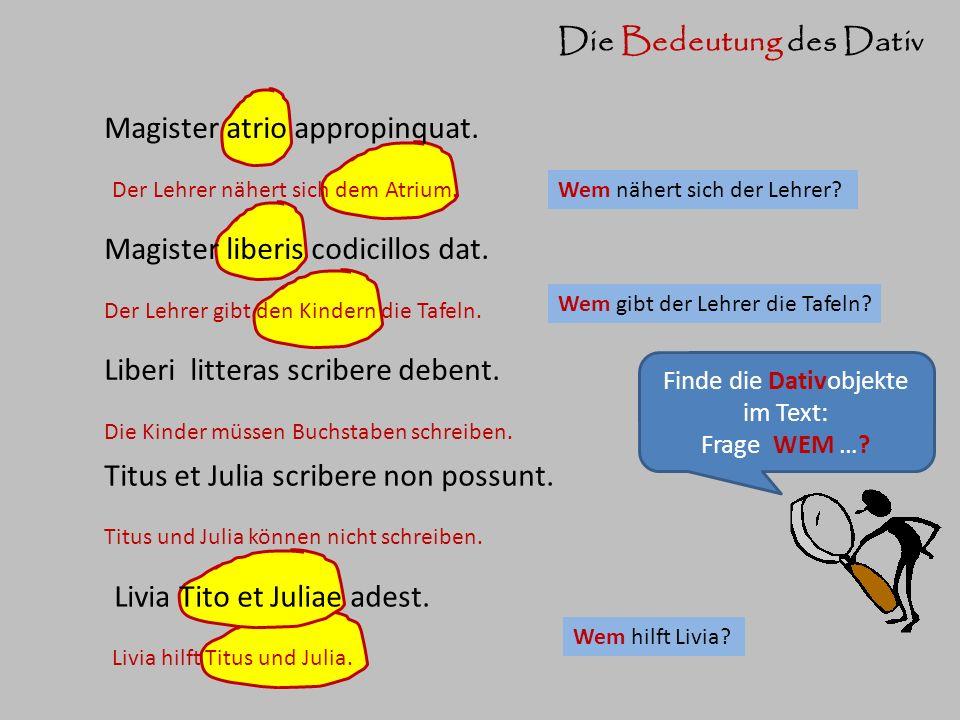 Die Formen des Dativ Livia Tito et Juliae adest.