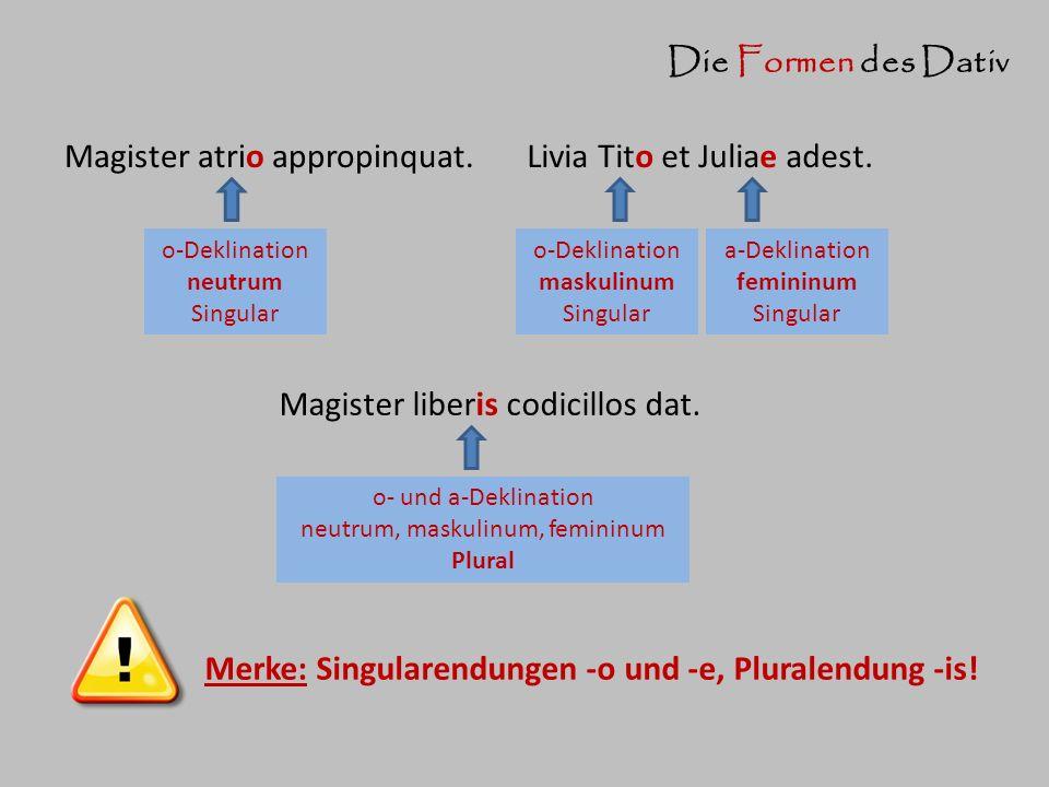 Die Formen des Dativ Livia Tito et Juliae adest. o-Deklination maskulinum Singular a-Deklination femininum Singular Magister atrio appropinquat. o-Dek